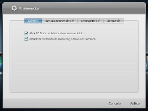 opciones de HP Advisor